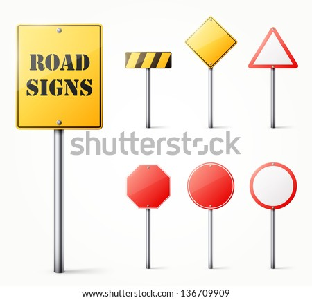 Set of road signs eps10 vector illustration