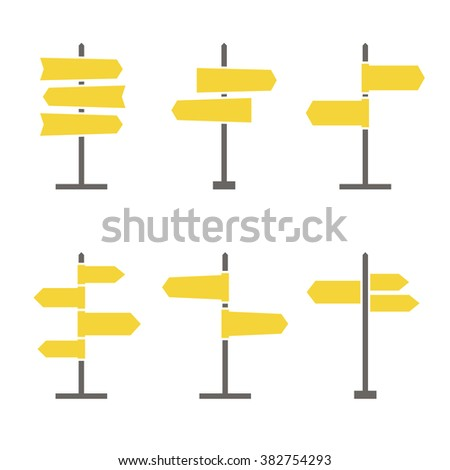 Set of 6 road signs flat icons. Collection of signpost icons in flat style. Blank templates for navigational text. EPS8 clean vector illustration. #382754293