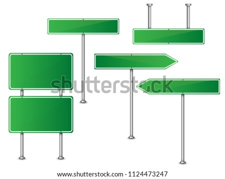 Set of road signs green isolated on transparent background. Vector illustration. #1124473247