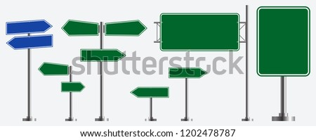 Set of road signs isolated. easy to modify