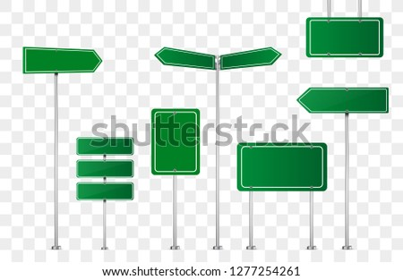 Set of road signs isolated on transparent background. Vector illustration. #1277254261
