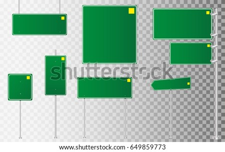 Set of road signs isolated on transparent background. Vector illustration.  #649859773