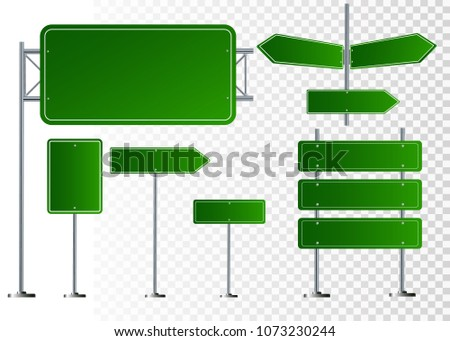 Set of road signs isolated on transparent background. Vector illustration EPS 10 #1073230244