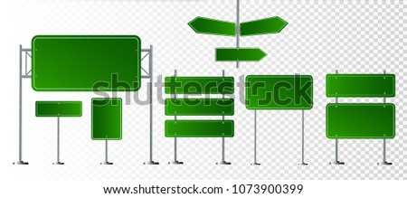 Set of road signs isolated on transparent background. Vector illustration EPS 10 #1073900399