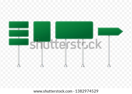 Set of road signs isolated on transparent background. Vector stock illustration #1382974529