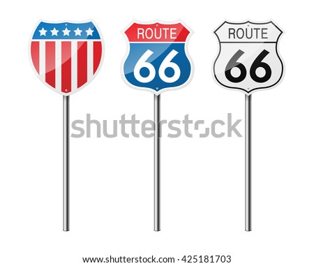 Set of 3 road signs, isolated on white background. The national flag of the USA. Route 66. EPS10 vector illustration.