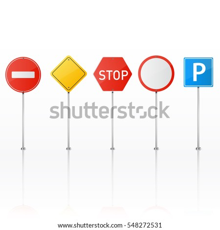 Set of road signs isolated on white background. Vector illustration.