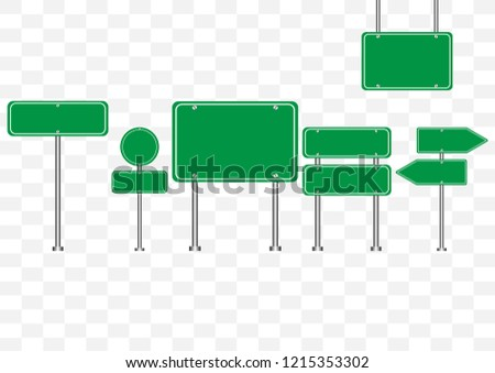 Set of road signs symbol vector illustration isolated on transparent background empty banners circle, triangle green road sign mock up for text.Concept for transportation. #1215353302