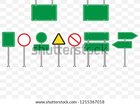 Set of road signs symbol vector illustration isolated on transparent background empty banners circle, triangle green,red,yellow road sign mock up for text.Concept for transportation,danger,safety. #1215367018
