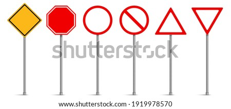 Set of road signs, Traffic signs on white background