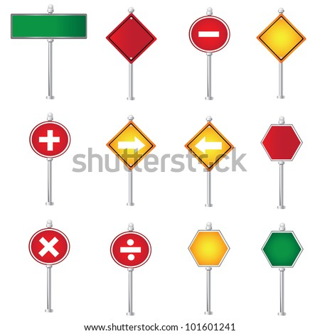 Set of Road Signs,Vector