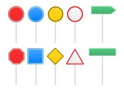 Set of road signs. Vector illustration.
