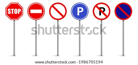 Set of road signs vector, Traffic signs on white background, Stop, No entry, Parking, No parking Photo stock ©
