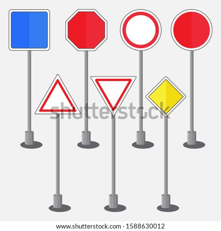 set of road signs, warning signs or prohibiting signs, European road signs, blank metal attention boards, editable vector image