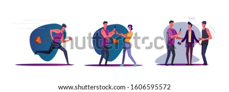 Set of robbers committing crimes. Flat vector illustrations of thieves young man, stealing purse, running. Crime concept for banner, website design or landing web page