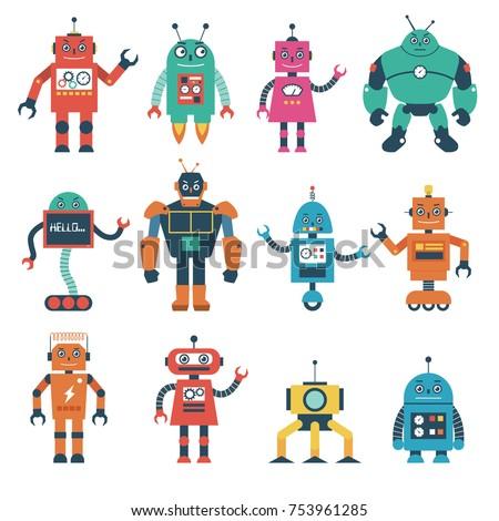 set of robot characters