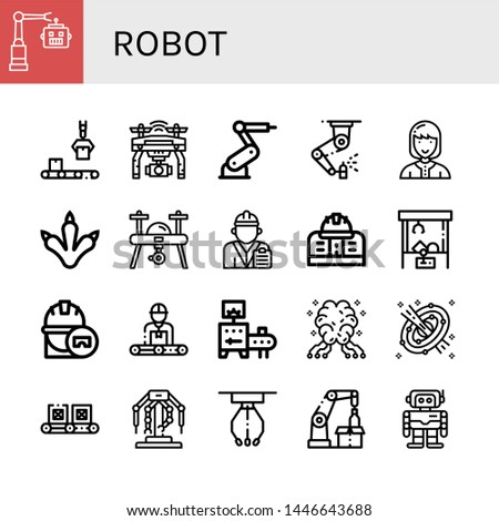 Set of robot icons such as Robot, Conveyor, Drone, Industrial robot, Machinery, Technician, Claws, Engineer, Engineering, Claw machine, AI, Space, Robotics, Robotic arm ,