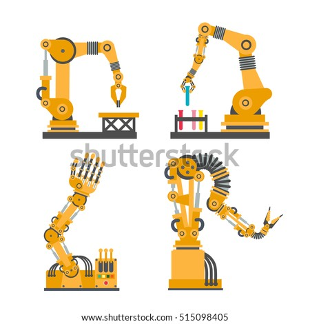 Set of robotic arms, hands. Vector robot icons set. Industrial technology and factory symbols. Flat illustration isolated on white background