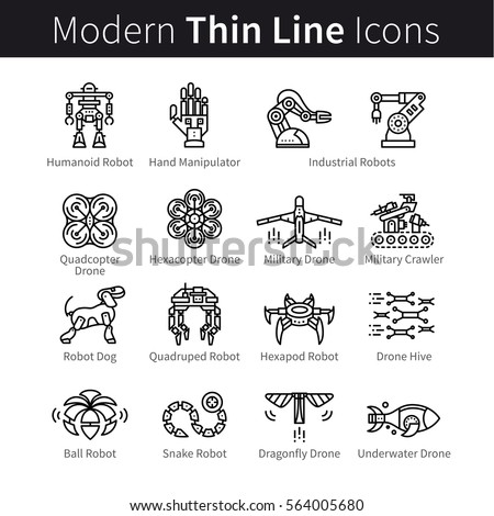 Set of robotics. Civilian, industrial and military robots, drones and quadcopter. Modern thin line art icons. Linear style illustrations isolated on white.