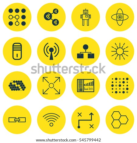 Vector Images Illustrations And Cliparts Set Of 16 Robotics Icons