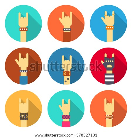 set of rock hands icons flat