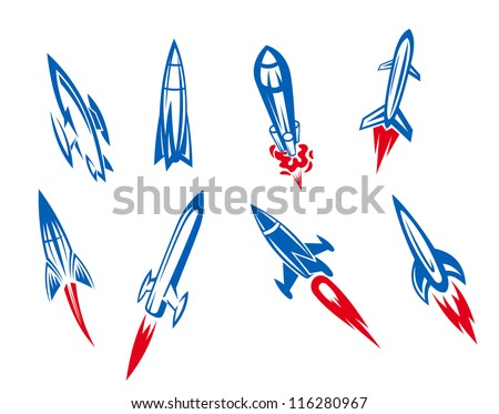 Set of rockets and missiles in cartoon style, such a logo template. Jpeg version also available in gallery