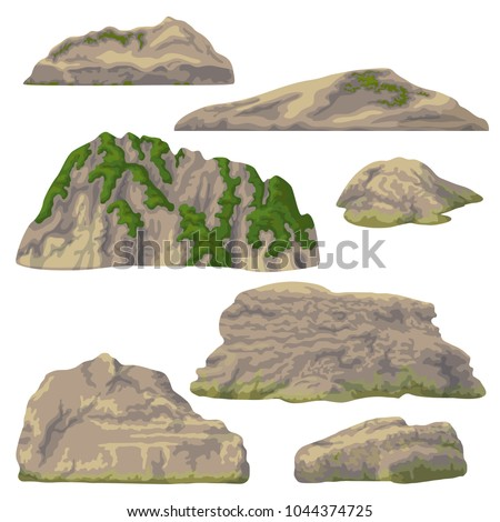 set of rocks  hills and stones