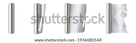 Set of roll of silver aluminium foil. Kitchen packaging element 3d realistic design, hot stamping aluminum foil isolated on white background. Vector illustration Stockfoto ©