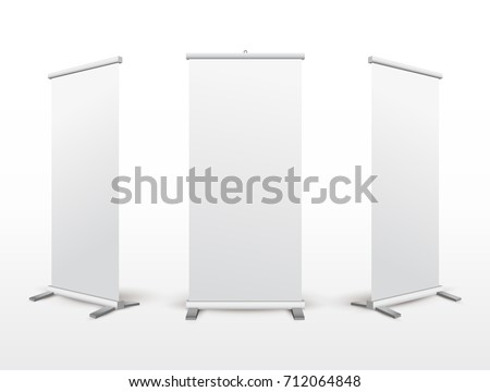 Set of roll up banner stand. Flip Chart for training or promotional presentation. Design template blank pop up banner display template for designers. Vector illustration. Isolated on white background.
