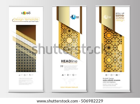 roll up banner design template with modern shapes - Download Free ...