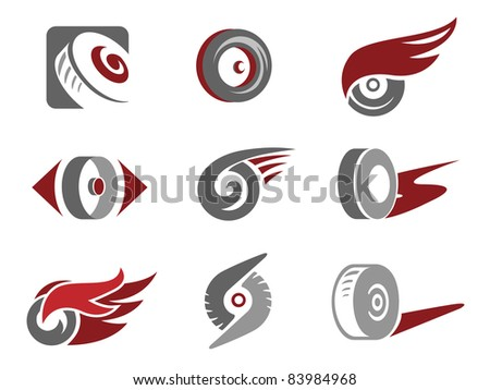 set of rolling wheel symbols