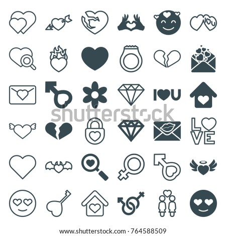 Set of 36 romance filled and outline icons such as flower, diamond, emot in love, broken heart, heart search, heart angel wings, love letter, male and female, male, female