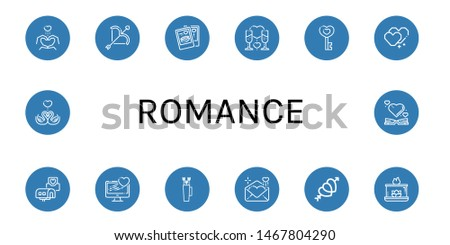Set of romance icons such as Heart, Love, Romantic, Wedding invitation, Bow, Love letter, Hearts, Aromatic candle, Swans , romance
