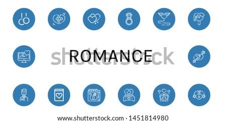 Set of romance icons such as Rings, Broken heart, Heart, Wedding ring, Love, Groom, Romantic novel, Wedding day, Hearts , romance