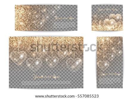 set of romantic banners of