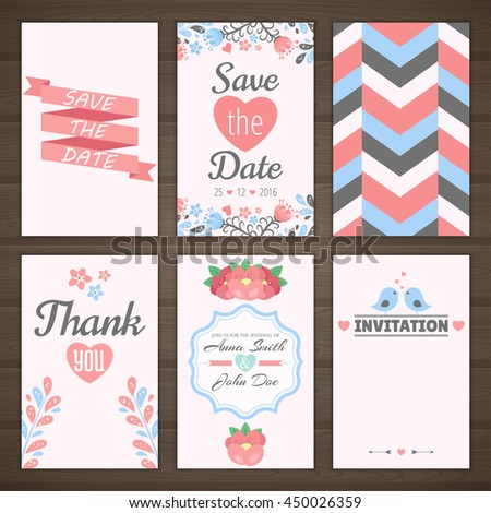 Set of romantic cards