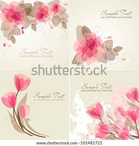 Set of 4 Romantic Flower Backgrounds in pink and white colors. Ideal for Wedding invitation, birthday card or mother's day card