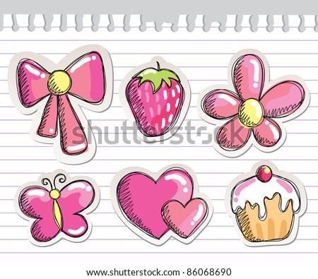 set of romantic hand drawn elements on paper sheet - stock vector