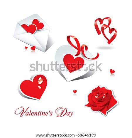 Set of romantic icons and stickers for themes like love, Valentine's day, holidays. Vector illustration.