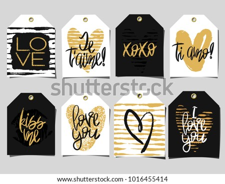 Set of 8 romantic labels. Handwritten lettering, doodles and hearts in black and gold colors with shadows on grey background. Vector Decorative tags for gift packaging, Valentines day or wedding