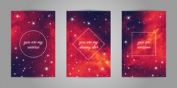 Set of romantic postcards with cosmos and stars background and words