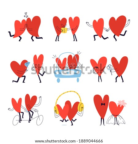 Set of romantic stories with cartoon hearts. Collection of hand drawn couples in love. Funny vector illustration of characters in the form of heart isolated on white background. Foto stock ©