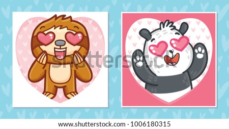 Set Of Romantic Valentineu0027s Day Cards With Characters: Sloth With Heart  Eyes And Cute Panda
