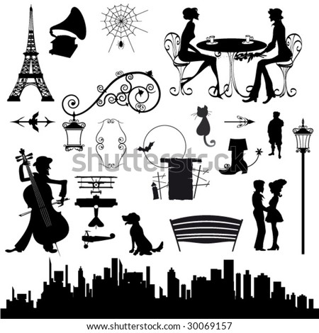 set of romantic vintage silhouettes vector art
