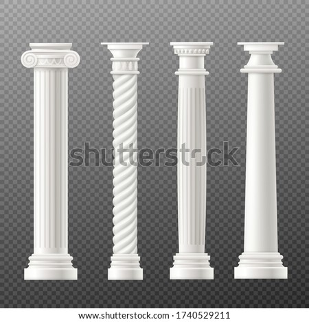 Set of Rome or Greece antique classic columns or pillars, realistic vector mockup illustration isolated on transparent background. Ancient architecture building element. Foto stock ©