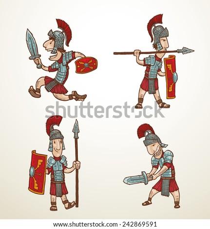 set of rome warriors  vector