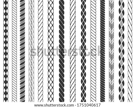Set of rope brushes. Seamless rope stripes isolated on background. Vector illustration.