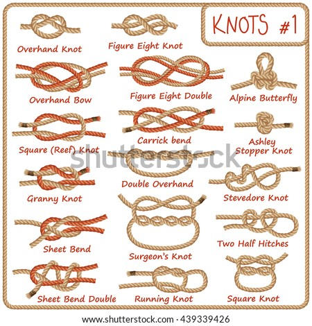 Set of rope knots, hitches, bows, bends isolated on white background. Decorative vector design. Part 1 of 3 Stock photo ©