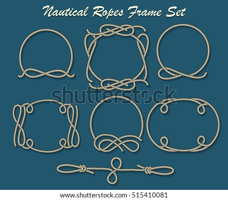 Set of Rope loop and frames. Nautical decor elements for your design. Vector illustration