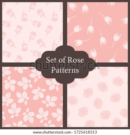 set of 4 rose and leaves